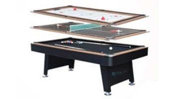 Hathaway Stafford 7-Foot Billiards Table with Table Tennis Top, Glide Hockey Top and Cue Rack   BG50349