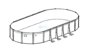 """12' x 24' Oval Pristine Bay Above Ground Pool Sub-Assembly   52"""" Wall   5-4642-129-52D"""