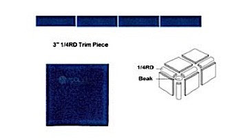 National Pool Tile Discovery Field 3x3 Trim | Cobalt Blue | DSF50N 1/4RD