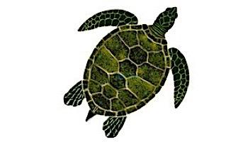 "Ceramic Mosaic Green Sea Turtle   10"" x 10""   GT7-10"