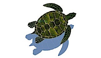 "Ceramic Mosaic Green Sea Turtle with Shadow   39"" x 33""   GT7-36/SH"