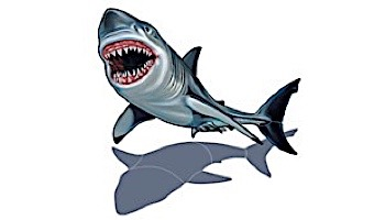 "Porcelain Mosaic Shark with Shadow   32"" x 25""   PORC-SK36/SH"