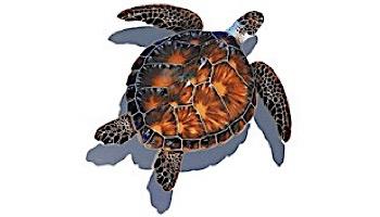"Porcelain Mosaic Sea Turtle Brown   11""x11"" with Shadow   PORC-BT10-10/SH"
