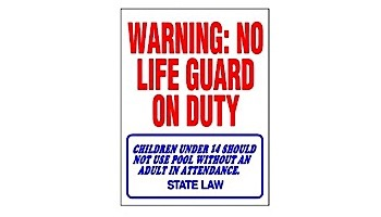 No Lifeguard on Duty Sign 18inches x 24inches   SW-1