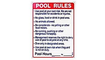 """Commercial Pool Rules Sign   18"""" x 24""""   SW-2"""