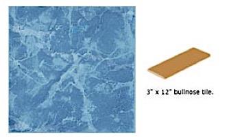 National Pool Tile Seven Seas 3x12 Single Bullnose Pool Tile   Lake Blue   PA41 SBN