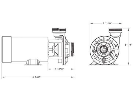 Waterway Hi-Flo II Side Discharge 48-Frame 1HP Above Ground Pool Pump 115V | 3' NEMA Cord | PH1100-6