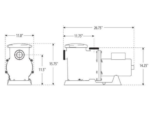 Waterway SVL56 High Flow 56-Frame 2HP Standard Efficiency Maximum Rated Pool Pump 230V | SVL56S-120