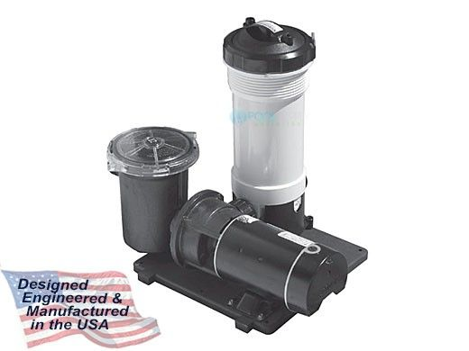 Waterway TWM Above Ground Pool Cartridge Filter System | 1HP Pump 50 Sq. Ft. Filter | 3' NEMA Cord | 520-3010