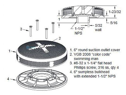 "AquaStar 6"" Sumpless Bulkhead Fitting with 1.5"" Extended MPT (VGB Series) | White | 6E15T101"