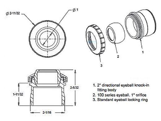 "AquaStar Three Piece Directional Eyeball Fitting | 2"" Knock-in | with 1"" Orifice | White | 6101"