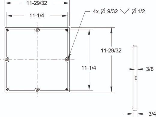 """AquaStar 16"""" Square Anti-Entrapment Suction Outlet Cover, Mud Frame and Retro-Adapter Sub-Frame for 12"""" Square 3/4"""" Deep Retrofits (VGB Series)   Dark Gray   1216105"""