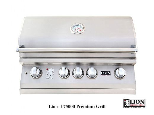"""Lion Premium Grills L-75000 32"""" 4-Burner Stainless Steel Built-in Propane Grill with Lights 