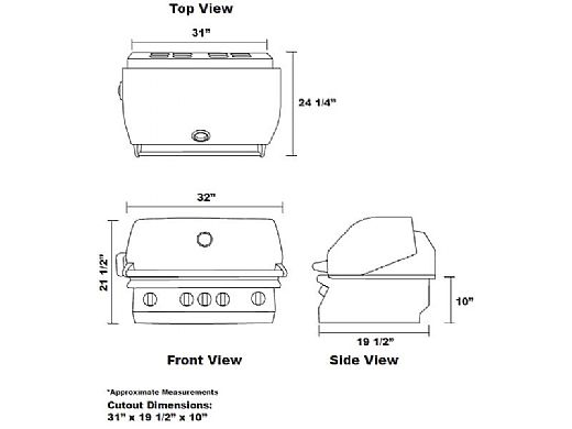 """Lion Premium Grills L-75000 32"""" 4-Burner Stainless Steel Built-in Natural Gas Grill with Lights   75623"""