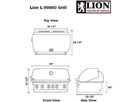 """Lion Premium Grills L-90000 40"""" 5-Burner Stainless Steel Built-in Propane Grill with Lights   90814"""