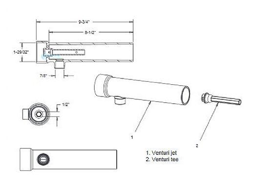 AquaStar Extended Venturi Tee for Gunite with Removable Jet | EVT101