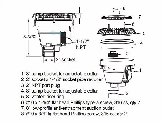 """AquaStar 8"""" Sump Bucket with Adapter Collar and 8"""" Low Profile Anti-Entrapment Suction Outlet Cover with Riser Ring 