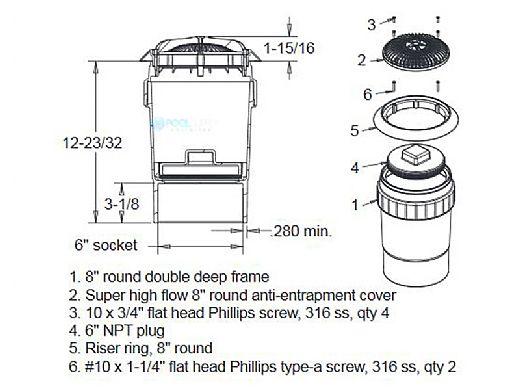 "AquaStar 8"" Star Anti-Entrapment Cover, Riser Ring and Double/Deep Mud Frame with 6"" Socket Sump Bucket (VGB Series) | White | A8R101F"