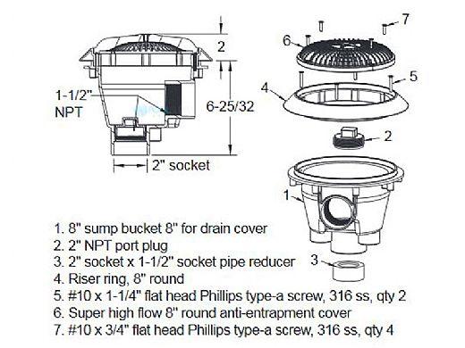 AquaStar 8'' Star Anti-Entrapment Cover, Solid Riser Ring and Standard Sump (VGB Series) | White | A8RSB101