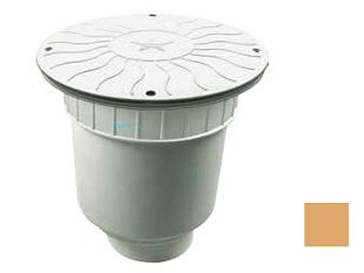 """AquaStar 10"""" Round Debris Catcher Suction Outlet Cover with Double Deep Sump Bucket with 4"""" Socket (VGB Series)   Tan   10LT108D"""