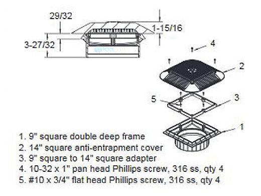 "AquaStar 14"" Square Grate with Double Deep Mud Frame/Sump for Optional Secondary Drain (VGB Series) | White | 914101A"