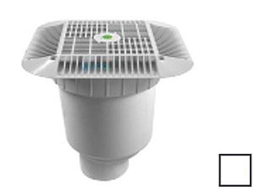 "AquaStar 14"" Square Grate with Double Deep Sump Bucket with 4"" Spigot (VGB Series) White 