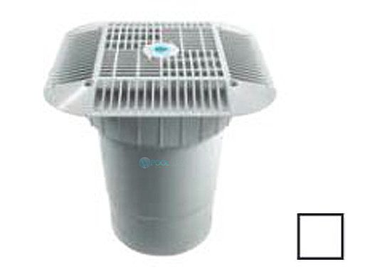 """AquaStar 14"""" Square Grate with Double Deep Sump Bucket with 6"""" Socket (VGB Series)   White   914101F"""