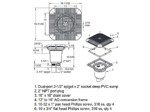 """AquaStar 16"""" Square Anti-Entrapment Suction Outlet Cover   with 2 Port Double Deep Sump Bucket (VGB Series)   White   1216101B"""