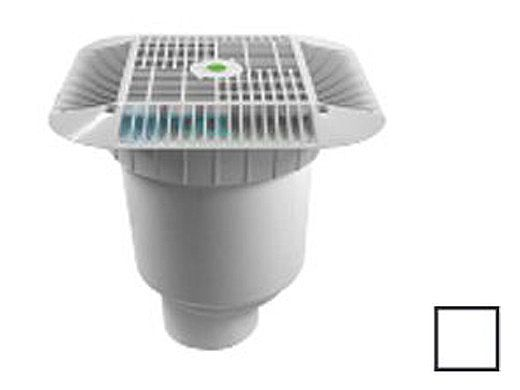 """AquaStar 16"""" Square Grate with Double Deep Sump Bucket with 4"""" Spigot (VGB Series) White 