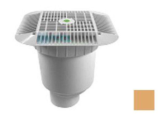 "AquaStar 16"" Square Grate with Double Deep Sump Bucket with 4"" Spigot (VGB Series) Tan   1216108C"
