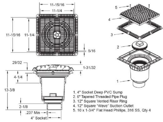 "AquaStar 12"" Suction Outlet Cover with 4"" Spigot | WAV12WR101D"