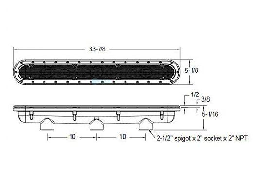 "AquaStar 32"" Channel Drain Pinhole Anti-Entrapment Suction Outlet Cover and 3 Port Manufactured Sump for Vinyl/Fiberglass | White | 32CDPHV101"