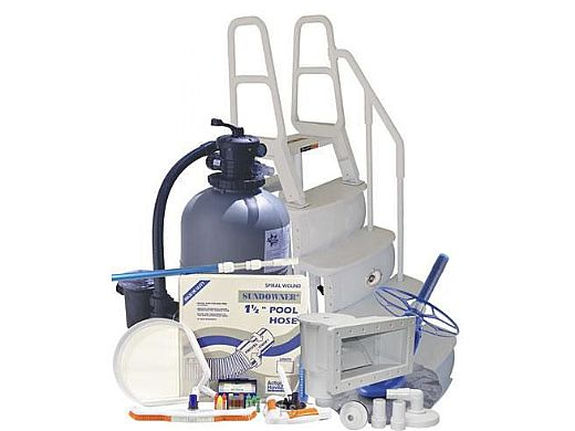 Deluxe Sand Filter Above Ground Pool Equipment Package | Small Pools up to 27' Round | AG-PB-0007