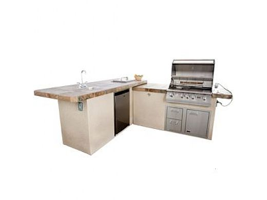 Lion Premium Grill Islands Commercial Q with Rock or Brick Natural Gas   90117NG