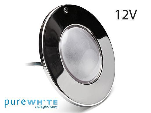 J&J Electronics PureWhite LED Pool Light XI Series | 12V Equivalent to 500W+ 50' Cord | LPL-F5W-12-50-P