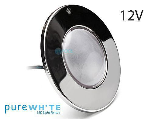 J&J Electronics PureWhite LED Pool Light LI Series | 12V Equivalent to 300W 30' Cord | LPL-F1W-12-30-P