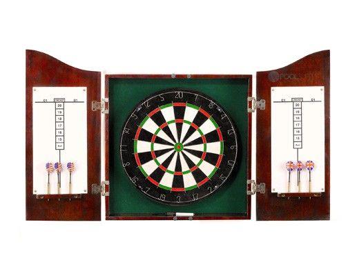 Hathaway Centerpoint Solid Wood Dartboard & Cabinet Set   Dark Cherry   NG1041CH BG1041CH