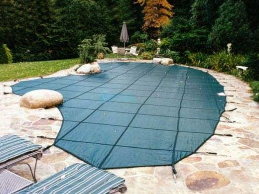 Merlin Classic Mesh 15-Year Mesh Safety Cover   Rectangle 12' x 24'   No Step   Green   1M-E-GR