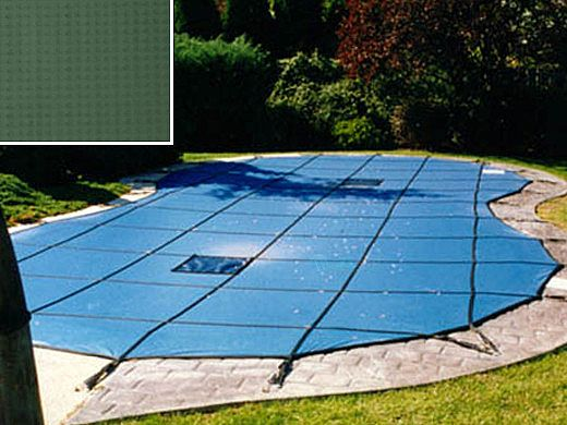 PoolTux 20-Year Emperor Solid Safety Cover   Rectangle 15' x 30' Green   4' x 8' Right End Step   CSPTGS15303