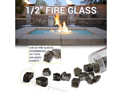 American Fireglass Half Inch Premium Collection | Blue Reflective Fire Glass | 10 Pound Jar | AFF-PABLRF12-J