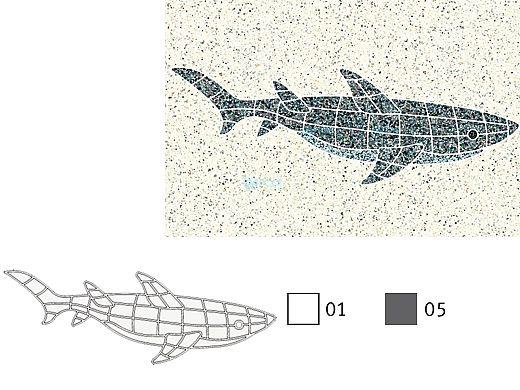 AquaStar Swim Designs Shark Stencil Only   Gray   F1010-05