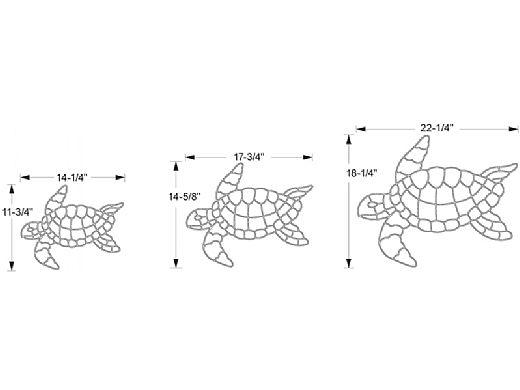 AquaStar Swim Designs Set 1 Large, 1 Medium & 1 Small Turtle Stencils Only   Gray   F1030-05