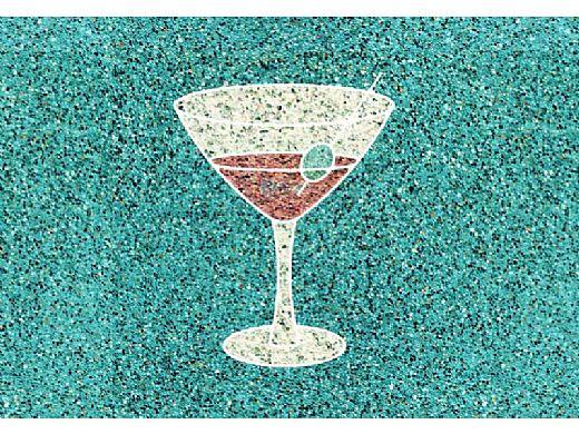 AquaStar Fillable Friends® Martini Glass Stencil Only | White | F1025-01