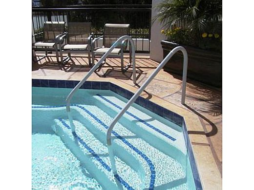 """Saftron Deck To Pool Mounted 2-Bend Handrail 
