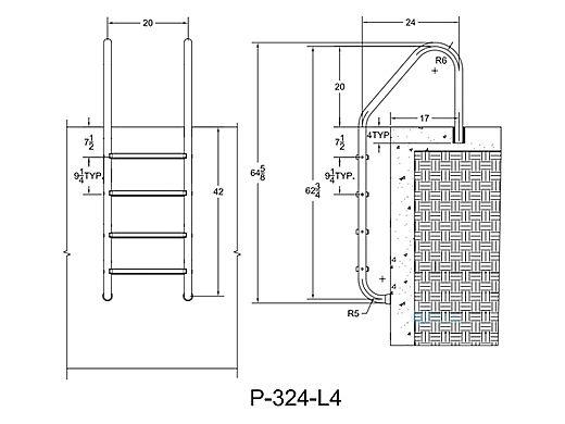 "Saftron Economy 4-Step Ladder | .25"" Thickness 1.90"" OD | 24"" W x 62"" H | Black | P-324-L4-BK"