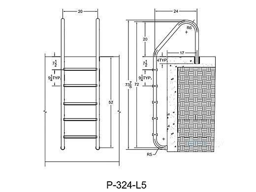 "Saftron Economy 5-Step Ladder | .25"" Thickness 1.90"" OD | 24"" W x 72"" H | White | P-324-L5-W"