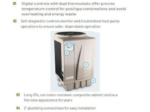 Pentair UltraTemp Heat and Cool Pump | 140K BTU Heat | 80K BTU Cool 230V | Titanium Heat Exchanger | Digital Controls | Almond | 460958