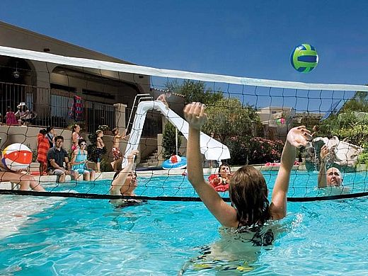 Interfab Volleyball Set | On-Deck Mount | Marine Stainless Steel Support Legs | WS-V BALL D-MG
