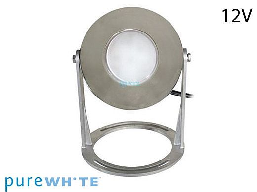 J&J Electronics PureWhite LED Underwater Fountain Luminaire | Base Only No Guard | 12V 30' Cord | LFF-S1L-12-NG-WB-30