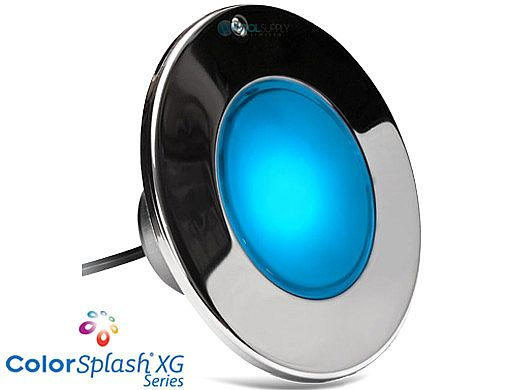 J&J Electronics ColorSplash XG Series Color LED Pool Light SwimQuip Version | 120V Equivalent 33W 50' Cord | LPL-F2C-120-50-PSQ